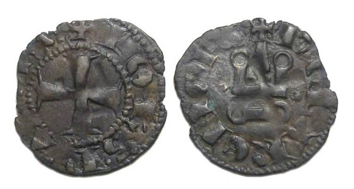 Ancient Coins - Crusaders in Frankish Greece, Achaea, Join of Gravina, AD 1318 to 1333. Billon denier.