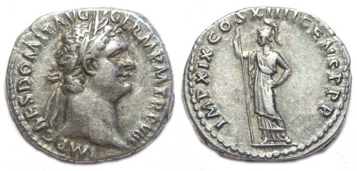 Ancient Coins - Domitian as Augustus, AD 81 to 96. Silver denarius