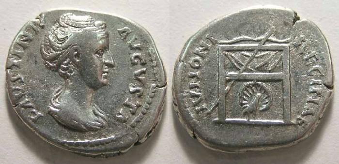 Ancient Coins - Faustina Sr. lifetime issue (AD 139 - 141), Silver denarius.