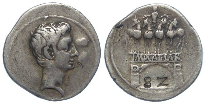 Ancient Coins - Octavian. 32 to 31 BC. Silver denarius. With an early collectors countermark.