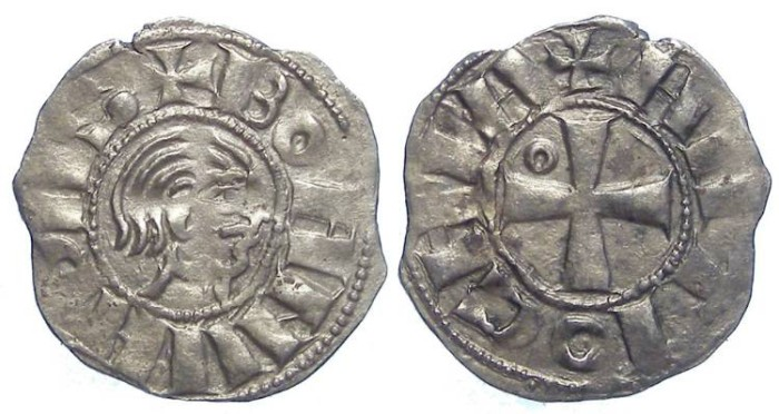 World Coins - Crusaders at Antioch. Bohemund III, minority of AD 1149 to 1163. Silver Denier.