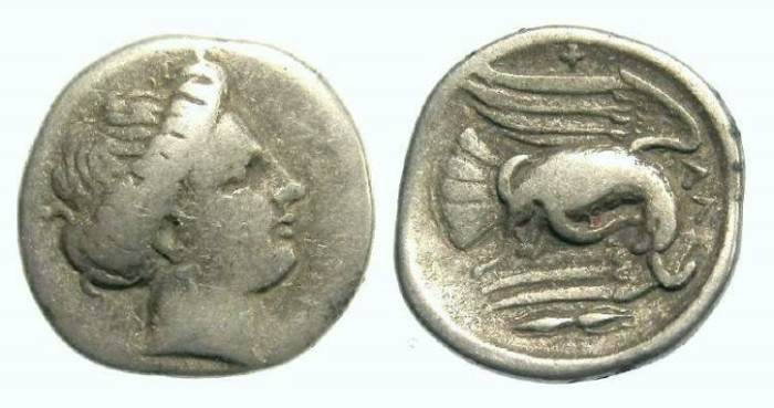Ancient Coins - Chalkis in Euboia.  Silver drachm. ca. 340 to 294 BC.  - Thunderbolt variety