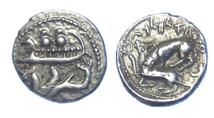 Ancient Coins - Phoenicia, Byblos. Ainel, before. 333 BC. Silver 1/8 shekel.