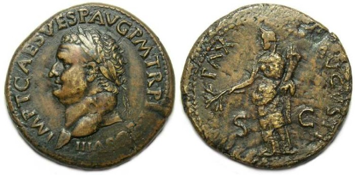 Ancient Coins - Titus, AD 79 to 81. AE sestertius.