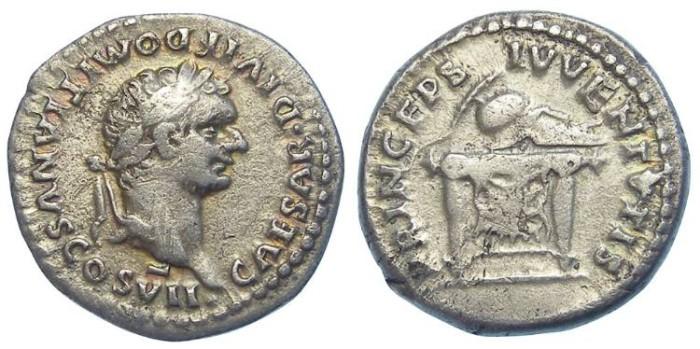 Ancient Coins - Domitian as Caesar under Titus, AD 79 to 81. Silver denarius.