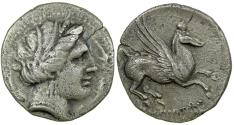 Ancient Coins - CELTIC SPAIN, EMPORION, 241-218 BC SILVER DRACHM.