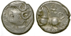 Ancient Coins - Celtic, Gaul. Sequani Tribe. Q. Doci Sam F. ca. 100 to 50 BC. Silver Quinarius.