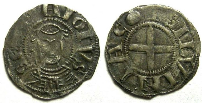 Ancient Coins - France Feudal. Souvigny Abbots.  Annonymous ca. AD 1080 to 1212. Billon denier.