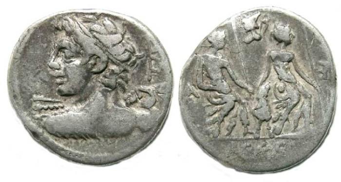 Ancient Coins - Roman Republic. Lucius Caesius. ca. 112/111 BC. Silver denarius