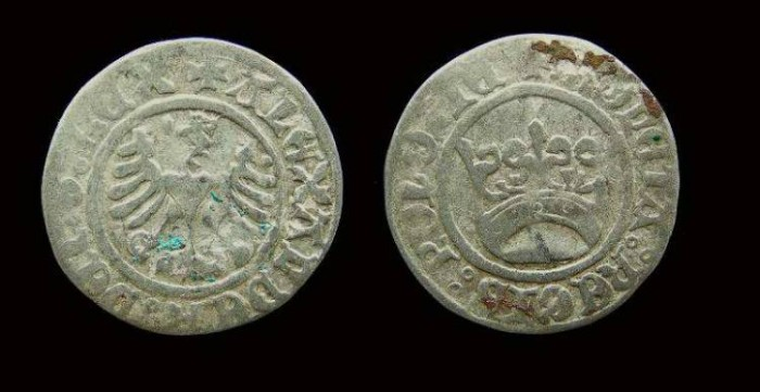 Ancient Coins - Poland, Alexander, AD 1501 to 1506.  Silver 1/2 groshen.