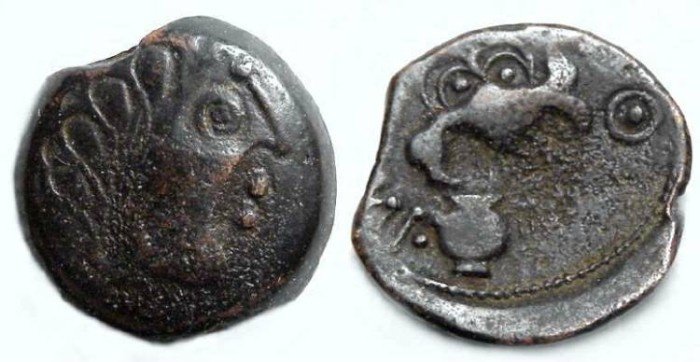 Ancient Coins - Celtic, Gaul. Senones Tribe. ca. 100 to 50  BC.  Struck AE 15.