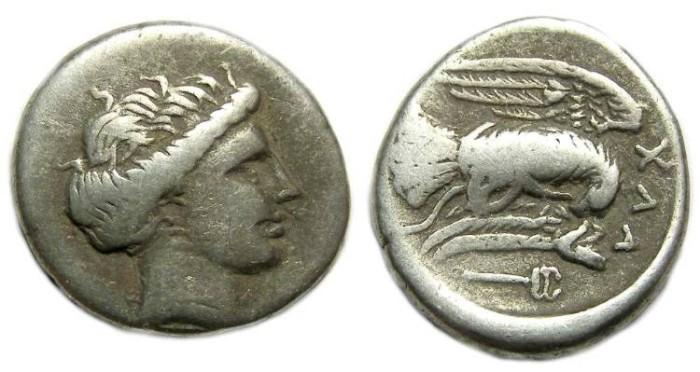 Ancient Coins - Euboia, Chalkis. ca. 340 to 294 BC. Silver drachm.