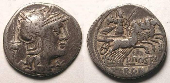 Ancient Coins - L. Postumius Albinus. ca. 131 BC. Silver denarius.