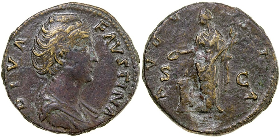Ancient Coins - Diva Faustina Senior. After AD 147. AE Sestertius.