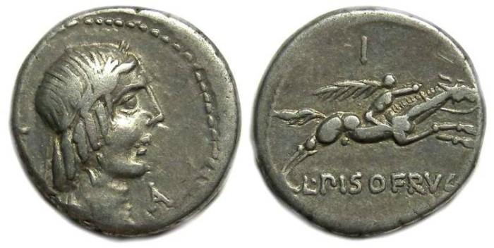 Ancient Coins - Roman Republic. L. Calpurnius Piso L.f. L.n Frugi. ca. 90 BC.