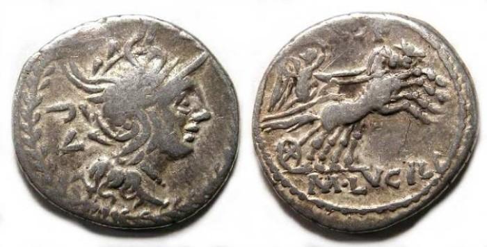Ancient Coins - Roman Republic. M. Lucilius Rufus. ca. 101 BC. Silver denarius