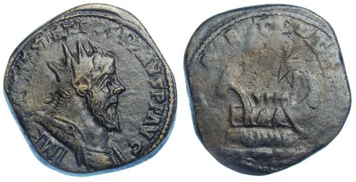Ancient Coins - Postumus, AD 259-268. Bronze double sestertius.