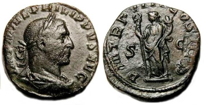 Ancient Coins - Philip I, AD 244-249. Bronze Sestertius.
