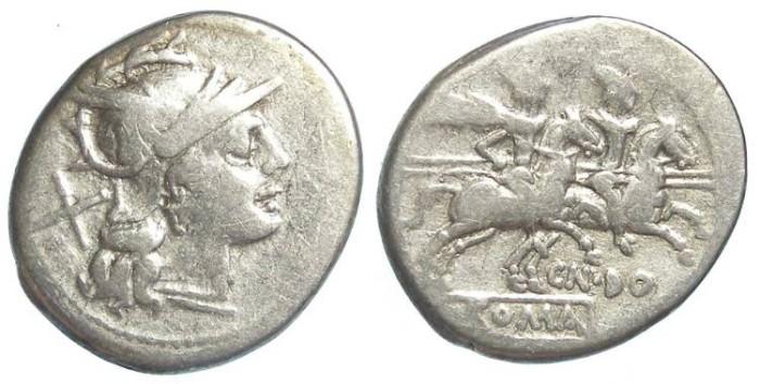 Ancient Coins - Roman Republic. CN Domitius Ahenobarbus. ca. 189 to 180 BC.   Silver denarius.