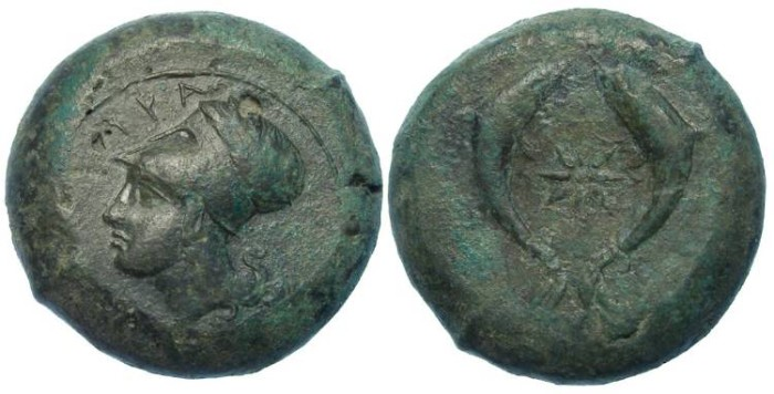 Ancient Coins - Syracuse in Sicily. Time of Dionysios I, ca. 405 to 367 BC. Bronze Drachm.
