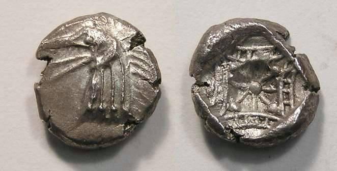 Ancient Coins - Caria, Kindya, ca. 500 BC, silver tetrobol
