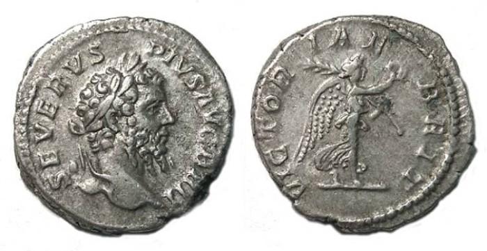 Ancient Coins - Septimius Severus, Victory over Britian. Silver denarius.
