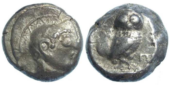 Ancient Coins - Athens, ca. 480 to 490 BC. Silver tetradrachm.  Archaic owl with 100% of the crest on the flan.