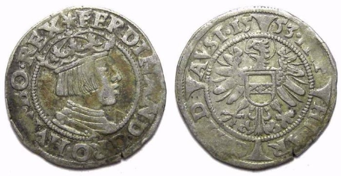 Ancient Coins - Austria, Ferdinand I, AD 1521 to 1564. Silver Groschen. Dated 1553.
