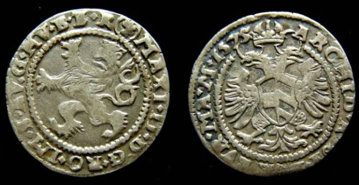 Ancient Coins - Bohemia, Maximilian II, AD 1564 to 1575. Silver Groschen date 1575.
