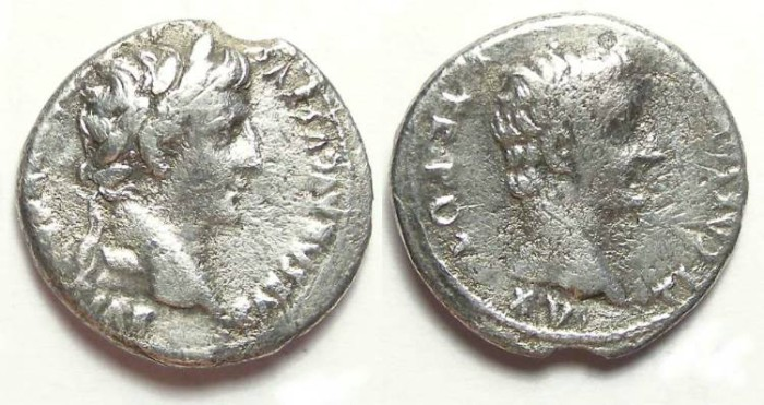 Ancient Coins - Augustus and Tiberius.  Dynastic denarius of AD 13 to 14.