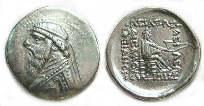 Ancient Coins - Parthia, Mithradates II, 123-88 BC. Silver drachm