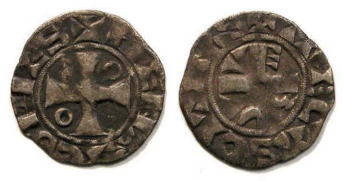 Ancient Coins - French Feudal. Troyes, Counts of Champagne.  Henry I, AD 1152 to 1180. Silver denier.