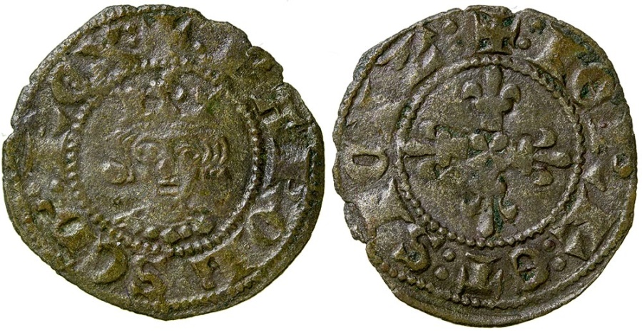 World Coins - Italy, Naples, Charles II d'Anjou, AD 1285 to 1309. Billon Denier.