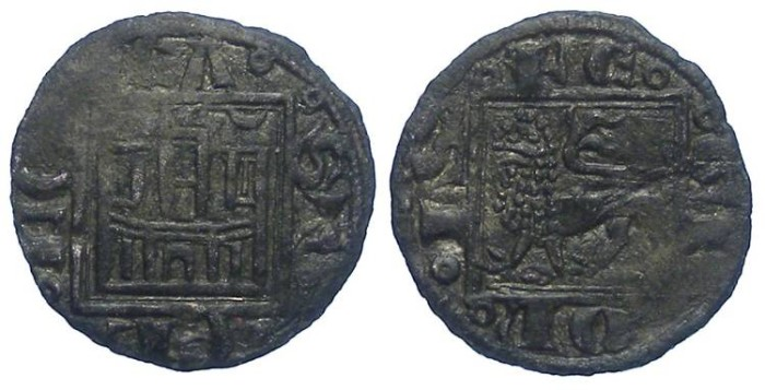 Ancient Coins - Spain, Castile & Leon. Alfonso X, AD 1252 to 1284. Billon Obol.