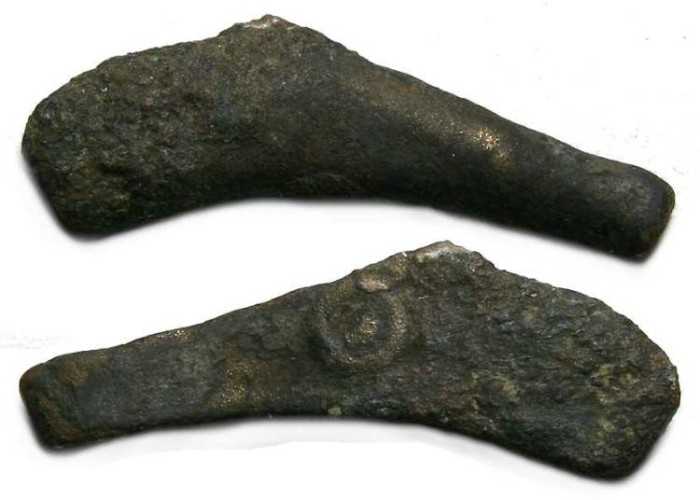 Ancient Coins - Olbia in Thrace, bronze dolphin coin, INSCRIBED.
