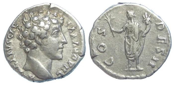 Ancient Coins - Marcus Aurelius as Caesar, AD 139 to 161.  Silver denarius.