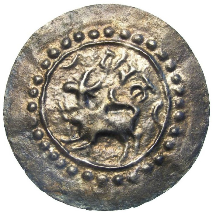 Ancient Coins - Candras of Hariketla around the Bay of Bengal.  8th to 11th century AD.  Large silver bracteate.