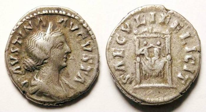 Ancient Coins - Faustina Junior under Marcus Aurelius. AD 161 to 180. Silver Denarius