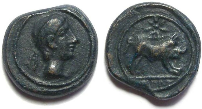 Ancient Coins - Iberian Celtic. Castulo in Spain. 1st century BC. AE 18.