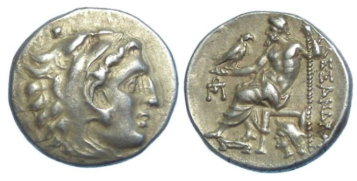 Ancient Coins - Macedonian Kingdom, Alexander the Great, 336 to 323 BC. Silver drachm.