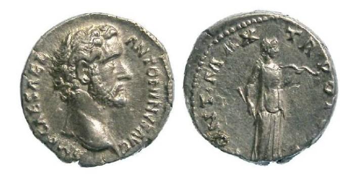 Ancient Coins - Antoninus Pius, AD 138 to 161. Silver denarius.