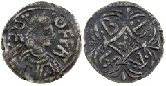 World Coins - Britain.  Kings of Mercia.  King Offa, AD 757 to 796.  RARE PORTRAIT TYPE.