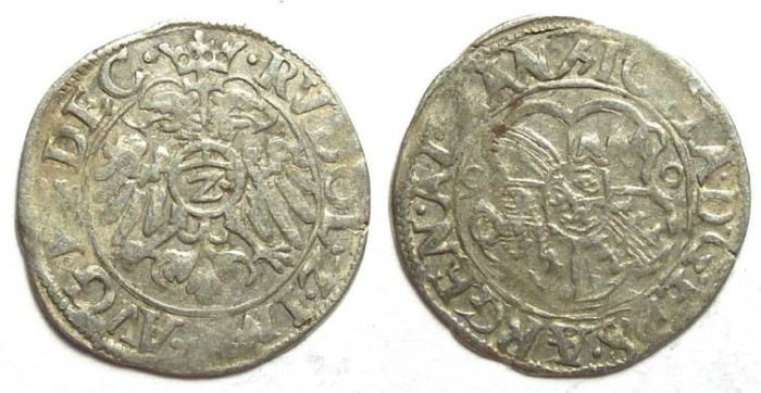 Ancient Coins - Germany/France. Strasburg Bishopric. Johann v. Manderscheid. AD 1569 to 1592. Silver 2 Kreuzer dated 1590.