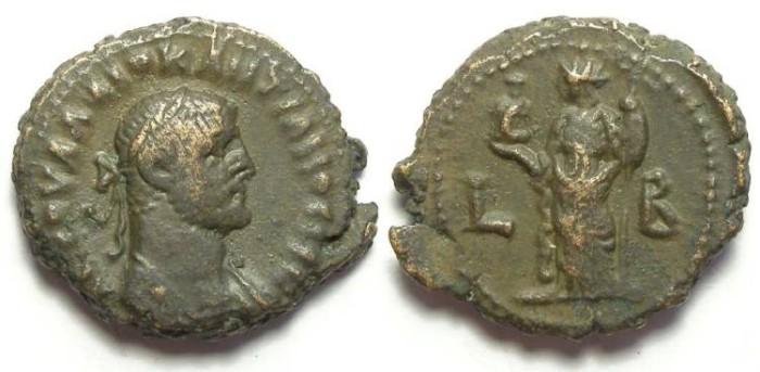 Ancient Coins - Alexandria, Diocletian, AD 284 to 305, Yr-2 potin tetradrachm. 18.5 mm.