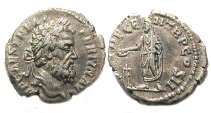 Ancient Coins - Pertinax, AD 193. Silver denarius
