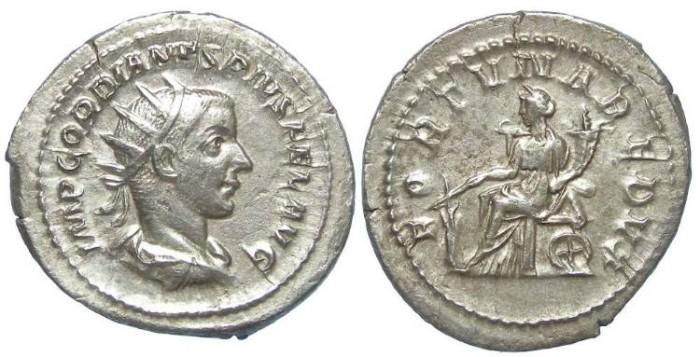 Ancient Coins - Gordian III, AD 238-244. Silver Antoninianus.  Medallic flan.