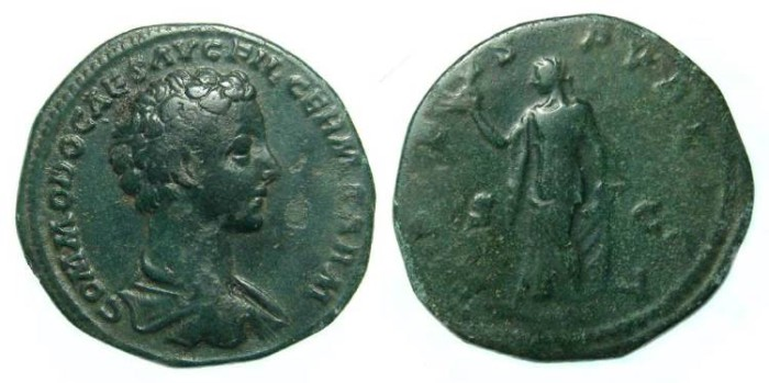 Ancient Coins - Commodus. As Caesar, AD 166 to 176.  Copper As.