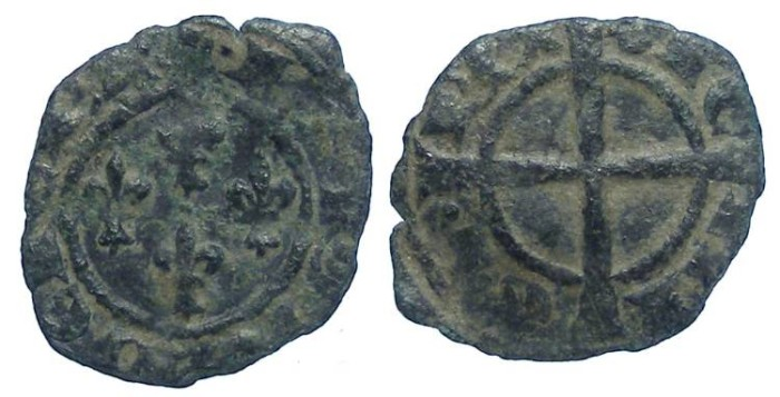 Ancient Coins - Italy. Kingdom of Sicily. Charles I of Anjou. AD 1266 to 1282. Billon Denaro.