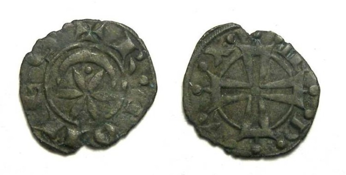 Ancient Coins - France Feudal. Marquisat of Provence.  Raymond V of Toulouse, AD 1148 to 1194. Billon denier.