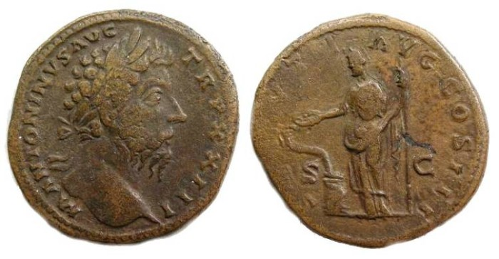 Ancient Coins - Marcus Aurelius, AD 161 to 180, Bronze sestertius.